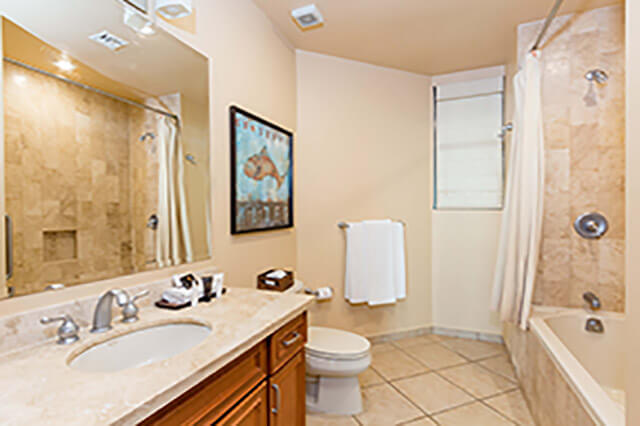 furnished condo rental bathroom