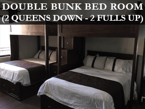 Bunk beds: 2 queens down 2 fulls up
